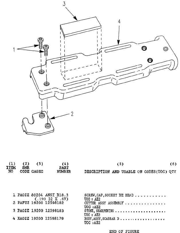 Fig 1 2 3 Item Smr No Code Cagec C 10 Scabbard Body Assembly